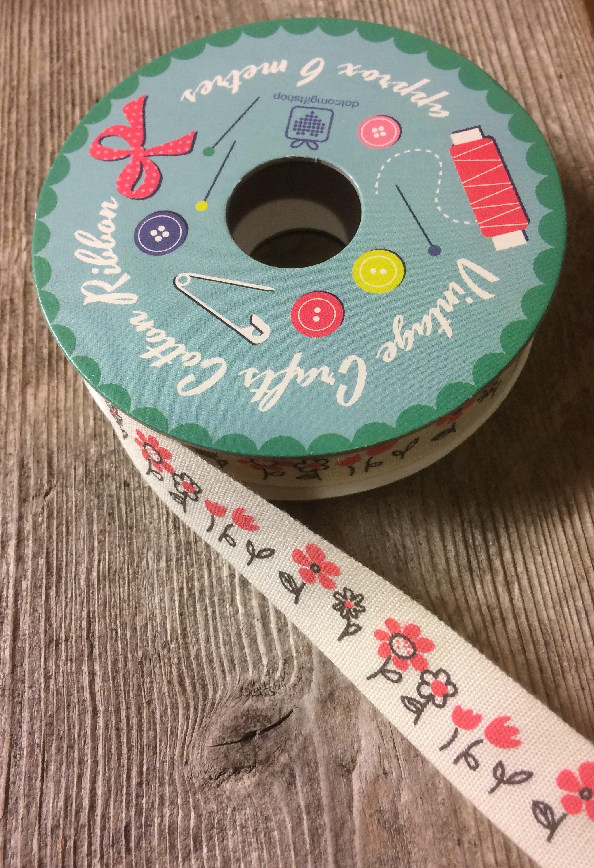 Bomullsband 6 m - Blommor