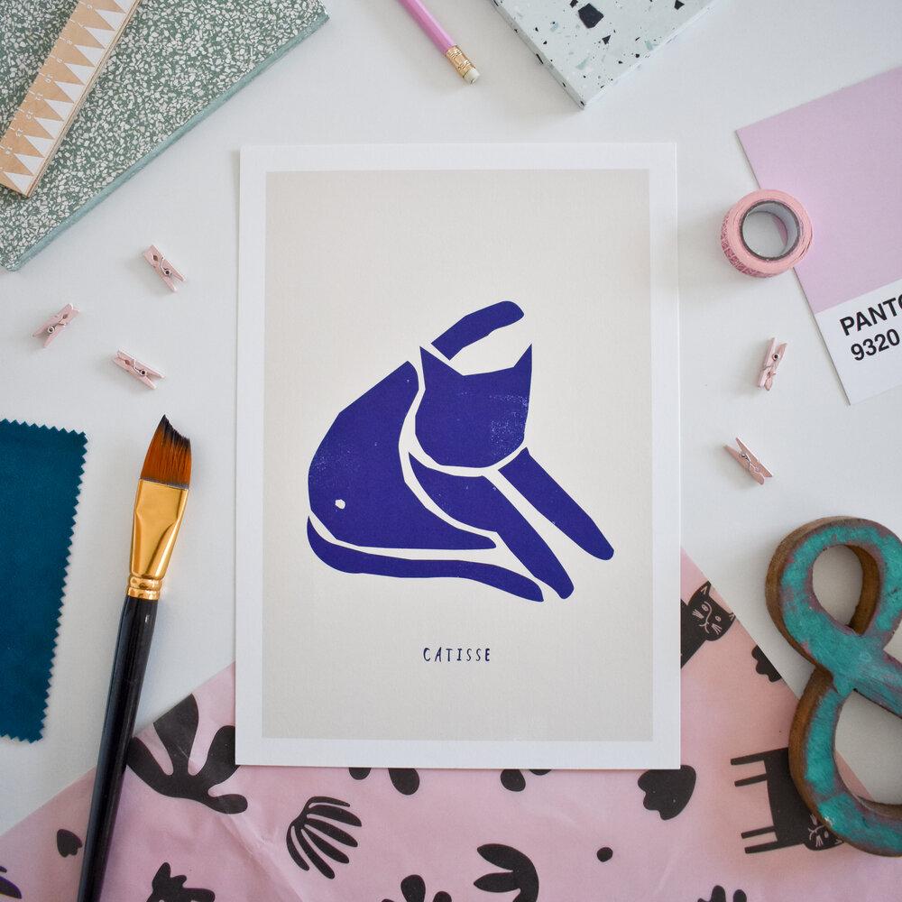 Niaski - Catisse Blue Cat A4 print