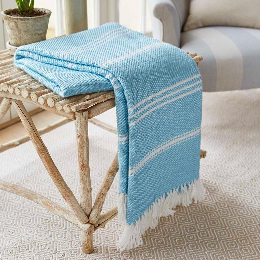 Weaver Green - Oxford Stripe Blanket - Azure
