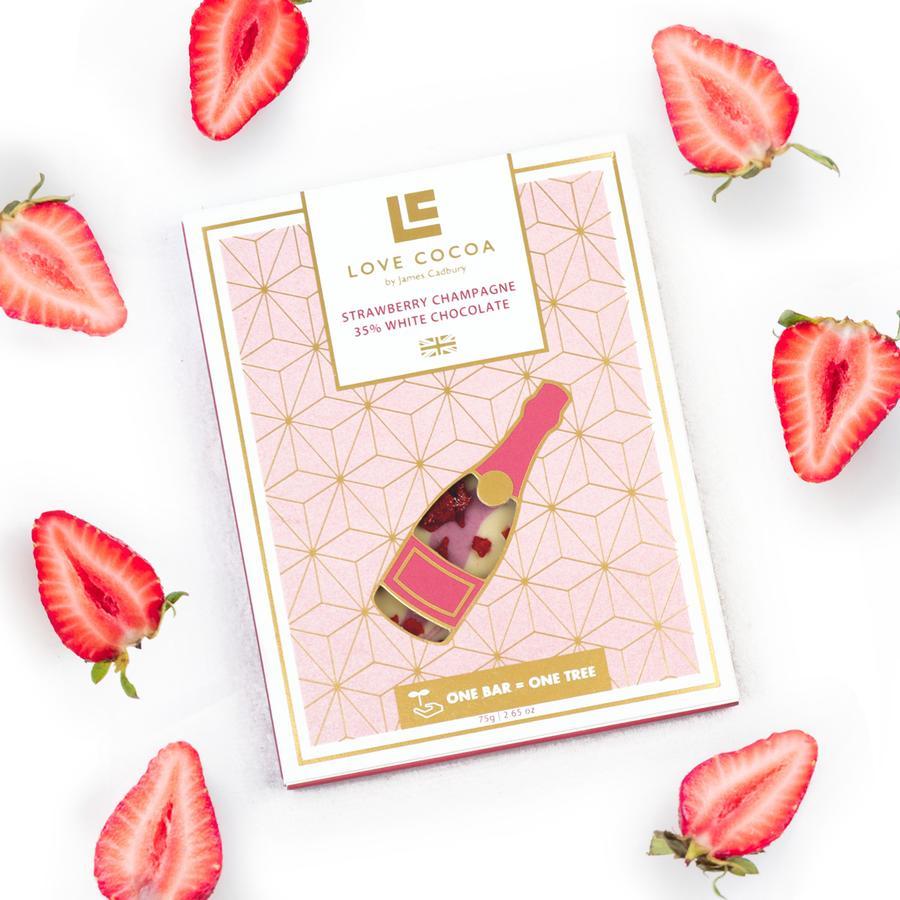 Love Cocoa - White Strawberry Champagne Bar 75g