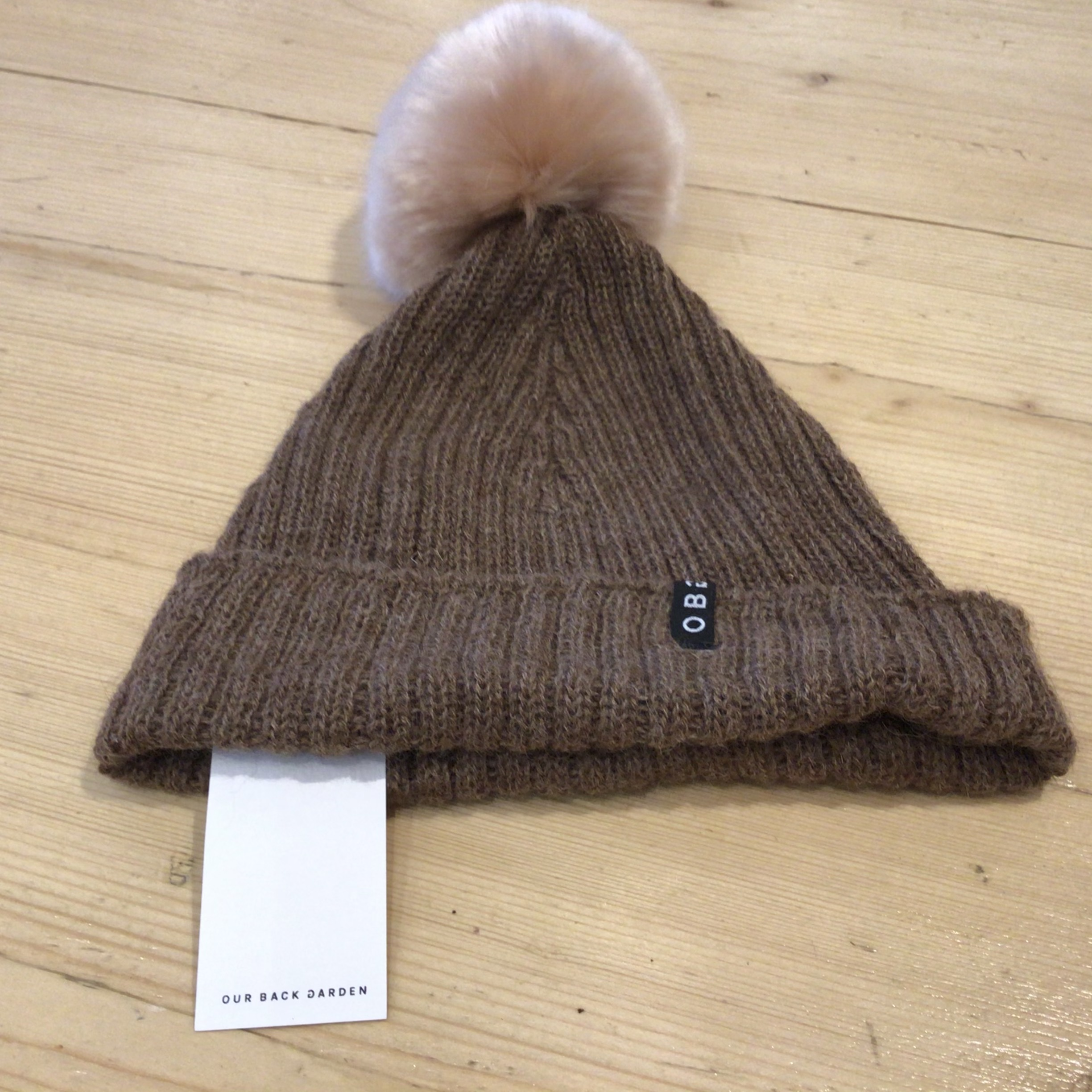 OBG - 100% Alpaca wool hat with Pom Pom, Walnut & Soft Rose