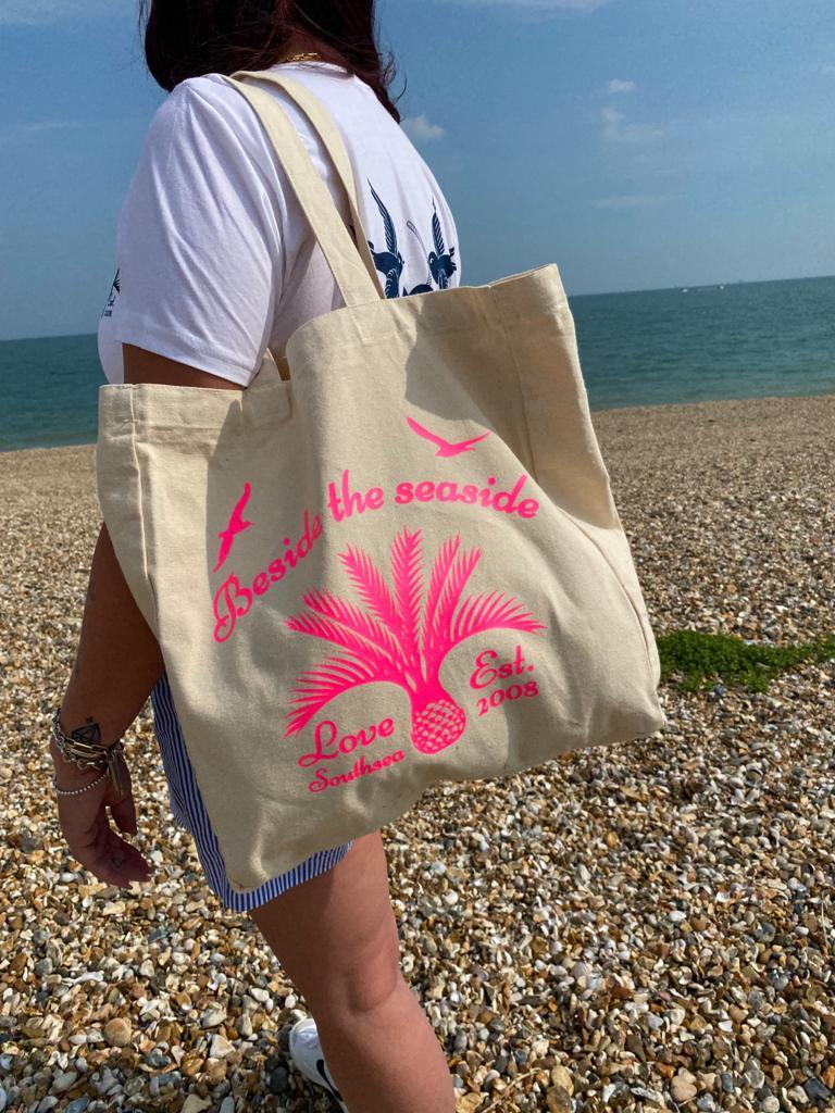 Love Southsea 'Beside the Seaside' - Pink Tote  Bag
