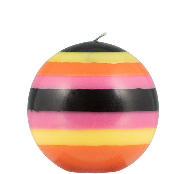BCS British Colour Standard - Small Striped Ball Candle - Orange Flame, Neyron Rose, Sulphur Yellow & Jet Black