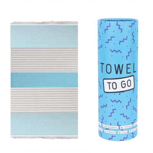 Towel to Go - Hammam towel in Turquoise / Grey