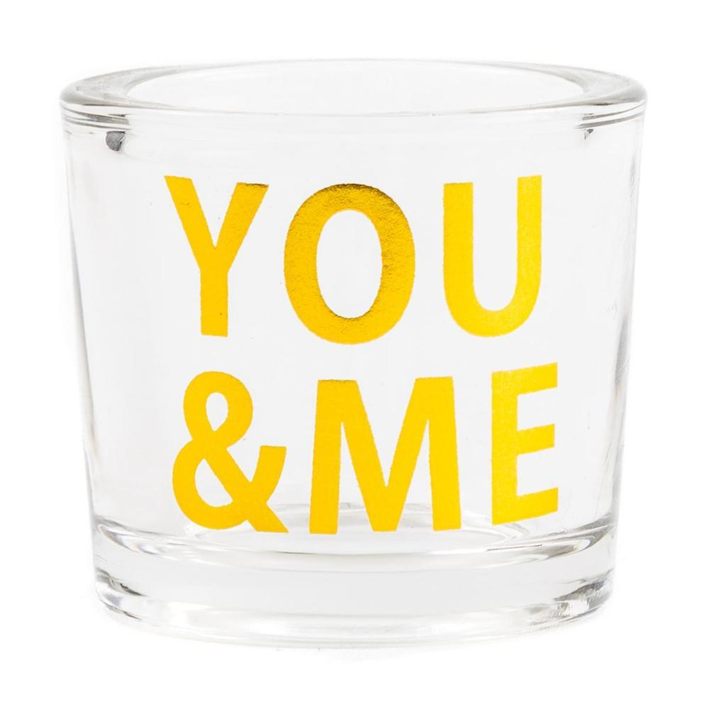 Chickidee - You & Me Gold Glass Candle Pot / Tea Light holder