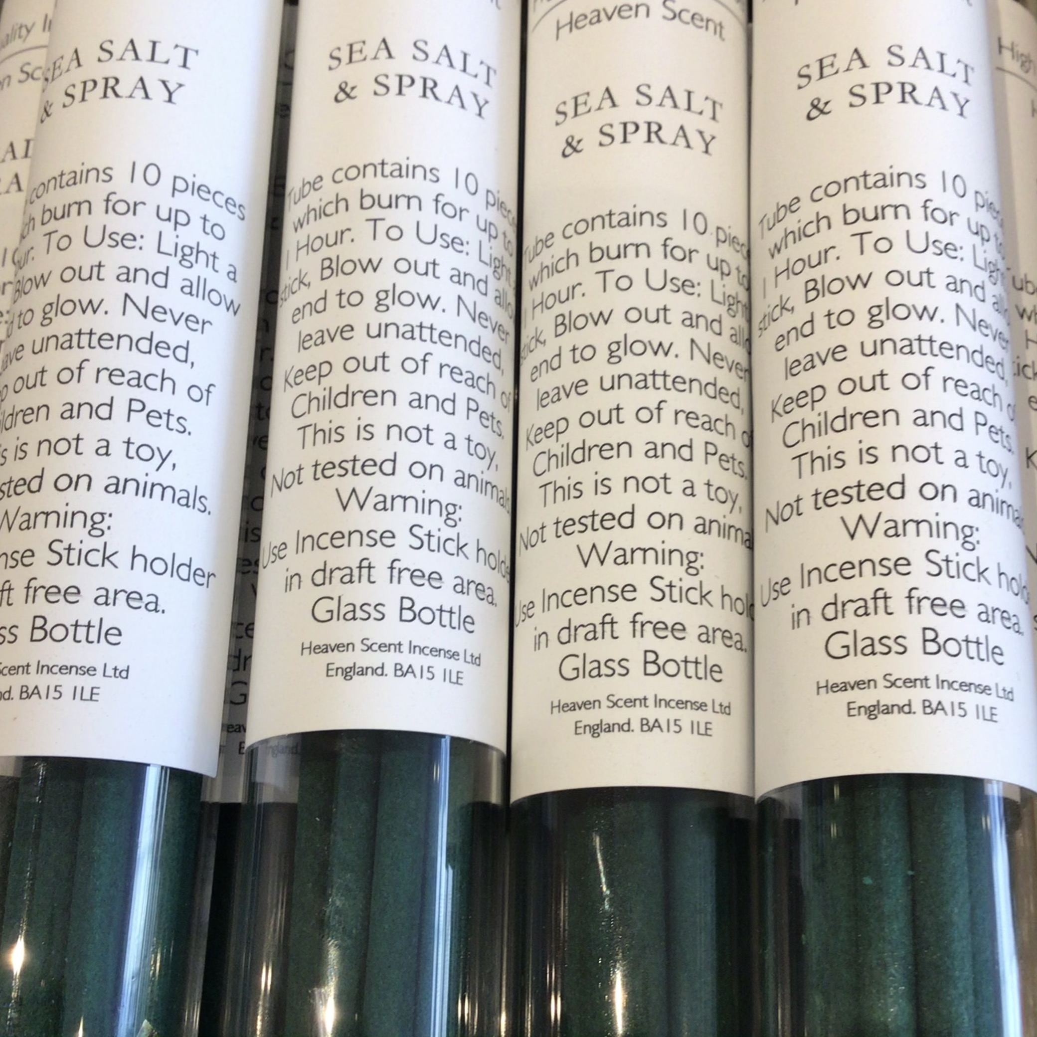 Heaven Scent - Sea Salt & Spray Incense in glass vial