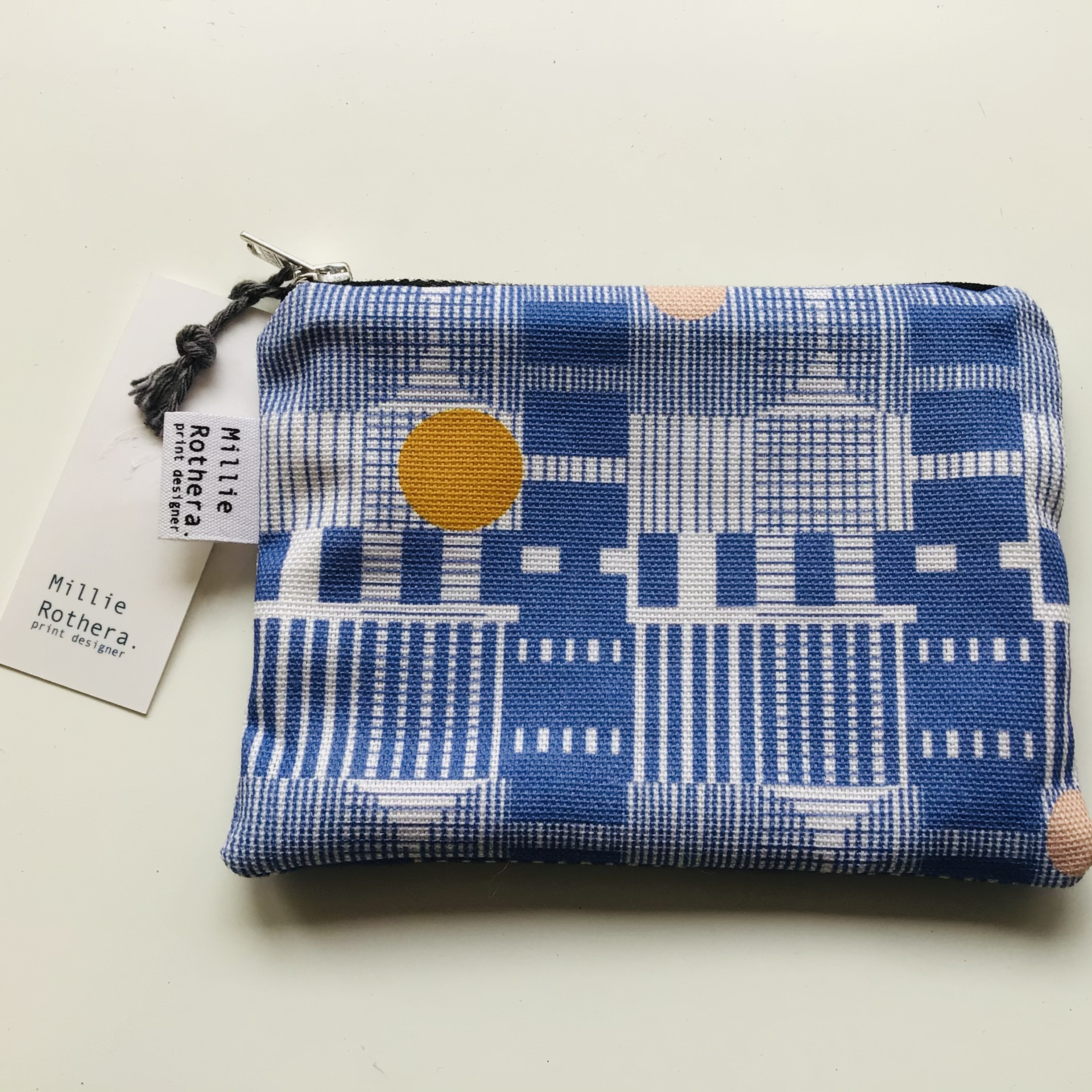 Millie Rothera Coin Pouch purse Blue Grid