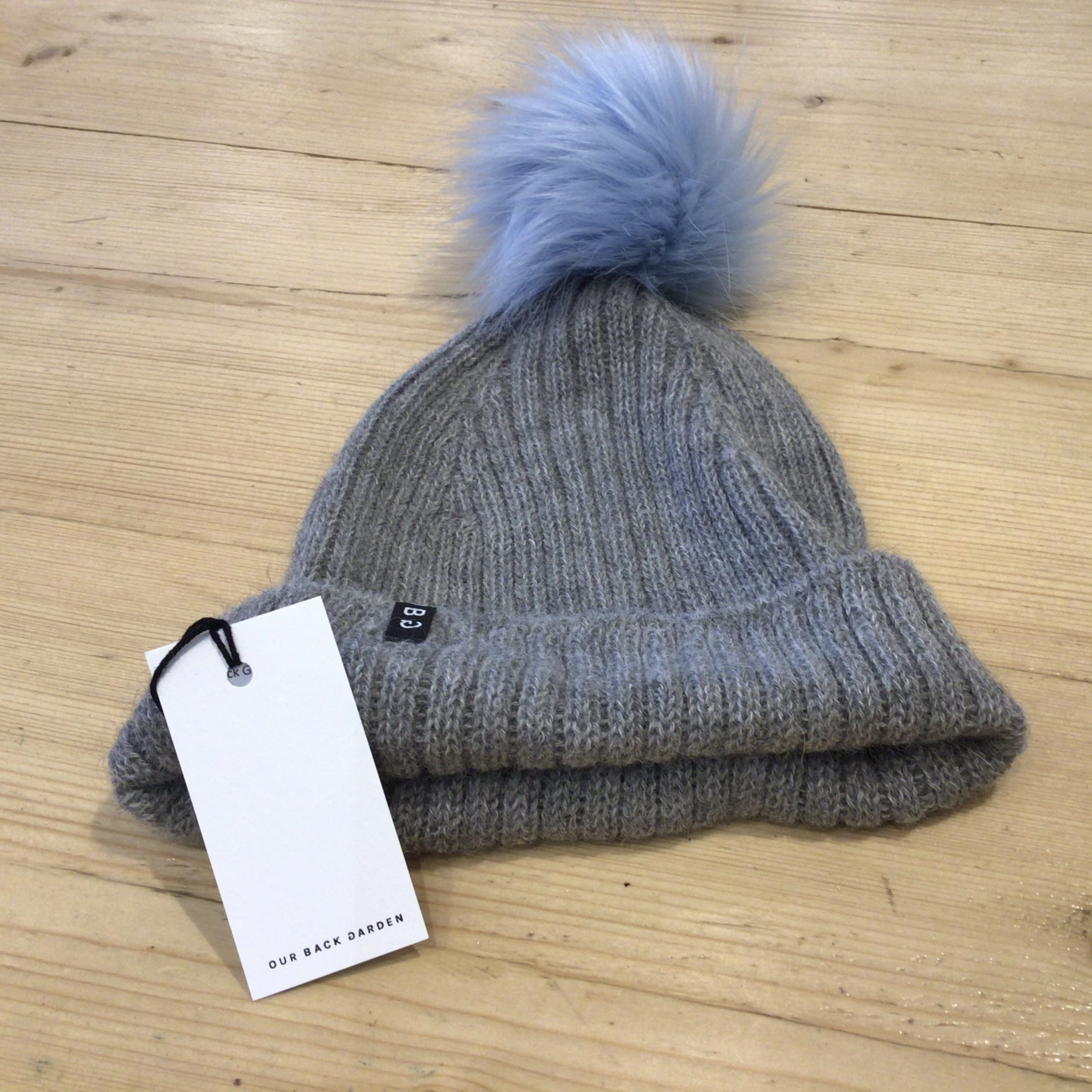 OBG - 100% Alpaca wool hat with Pom Pom, Grey & Ice Blue
