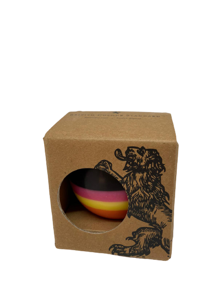 BCS British Colour Standard - Small Striped Ball Candle - Orange Flame, Neyron Rose, Sulphur Yellow & Jet Black