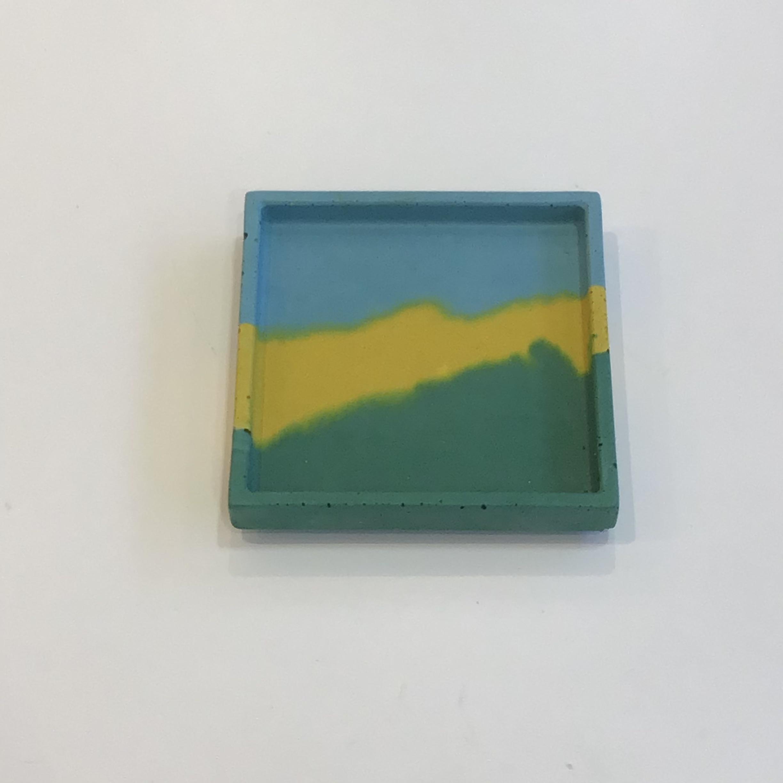 Concrete Square Tray - Green, Yellow, Blue