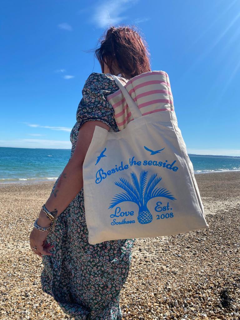 Love Southsea 'Beside the Seaside' - Blue Tote Bag