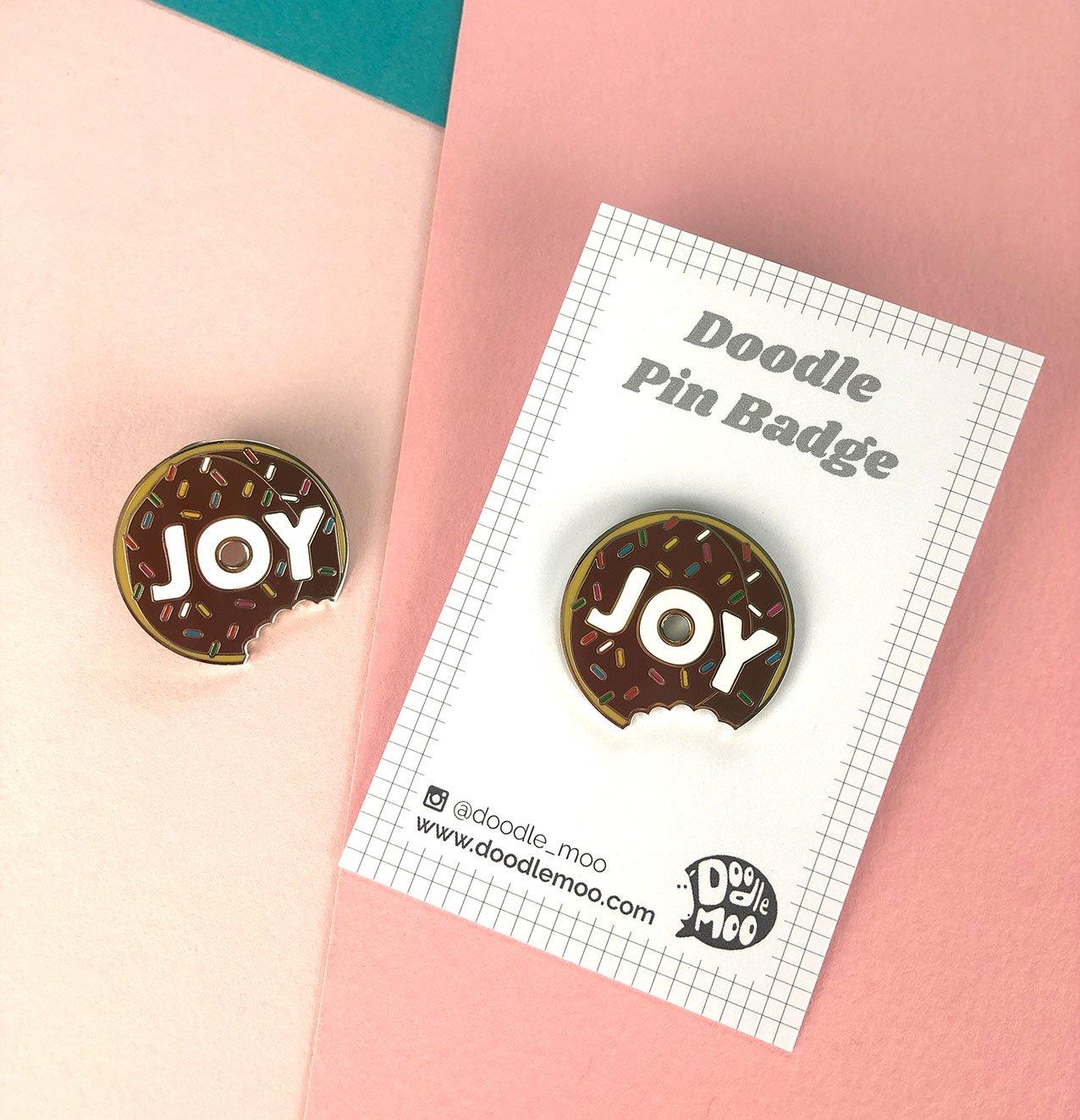 Doodle Moo - Enamel Pin - Joy