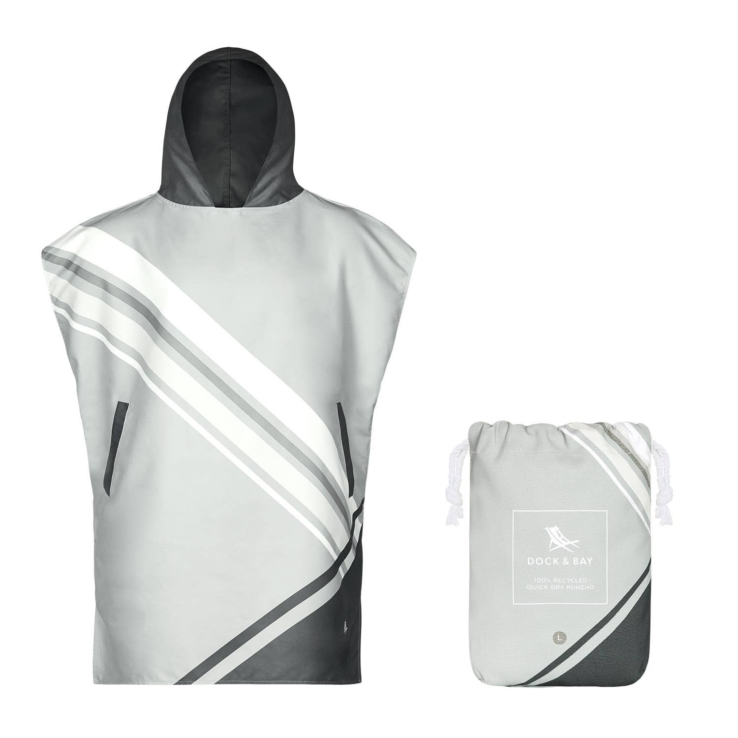 Dock & Bay - Quick Dry Hooded Towel, Adult Poncho - Pace Grey