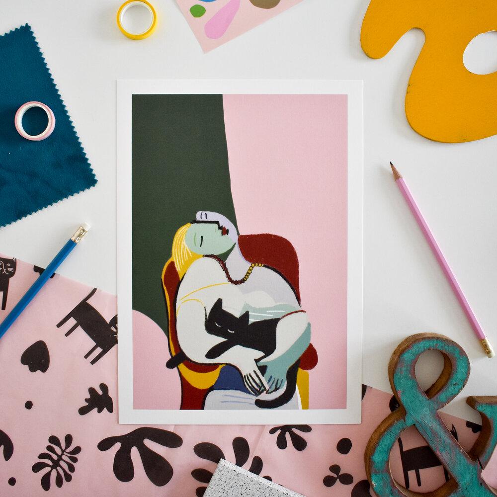 Niaski - Picasso Cat Lady A4 print
