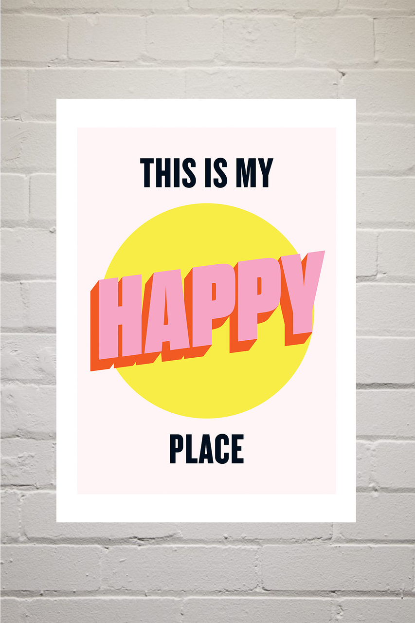 'Happy Place'  (A3) Art Print (East End Prints)