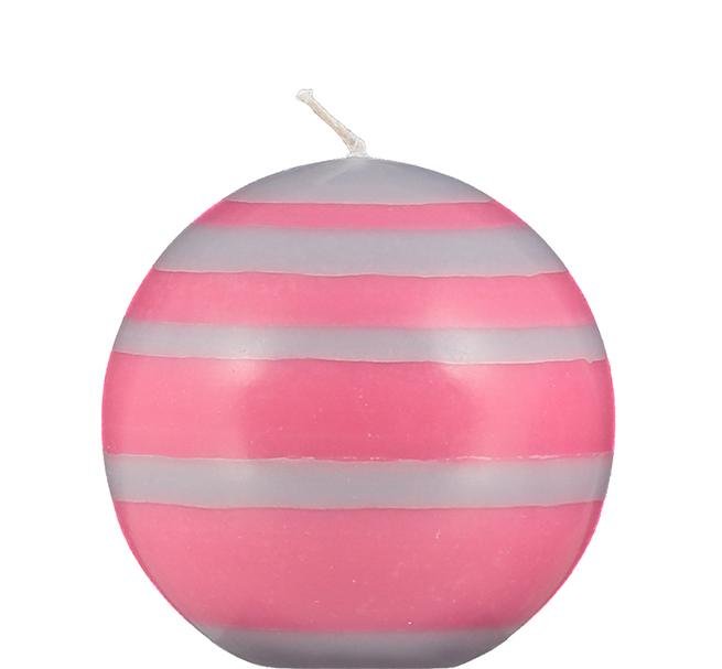 BCS British Colour Standard - Small Striped Ball Candle - Neyron, Rose, Willow