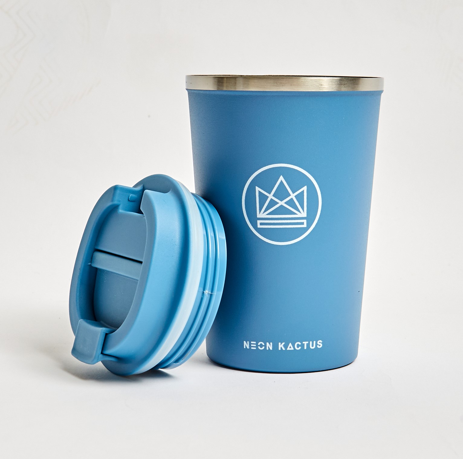 Neon Kactus -  Blue/Grey  Stainless Steel Coffee Cup