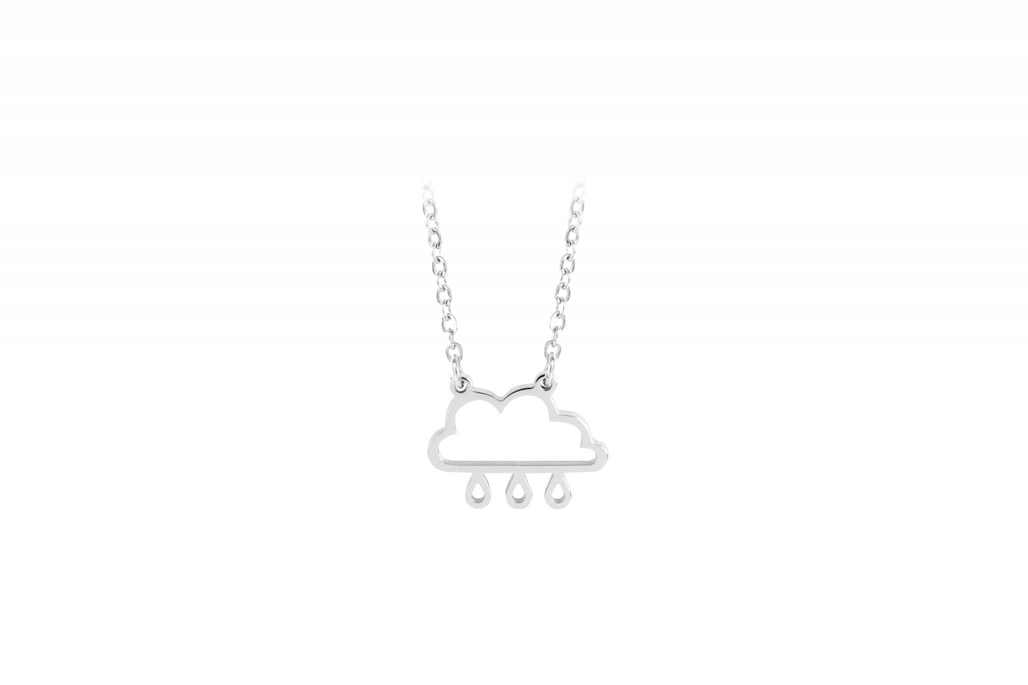 Esa Evans - Rain Cloud Pendant Necklace (Polished Steel)