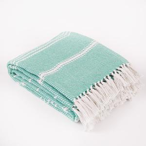 Weaver Green - Oxford Stripe Blanket - Aqua