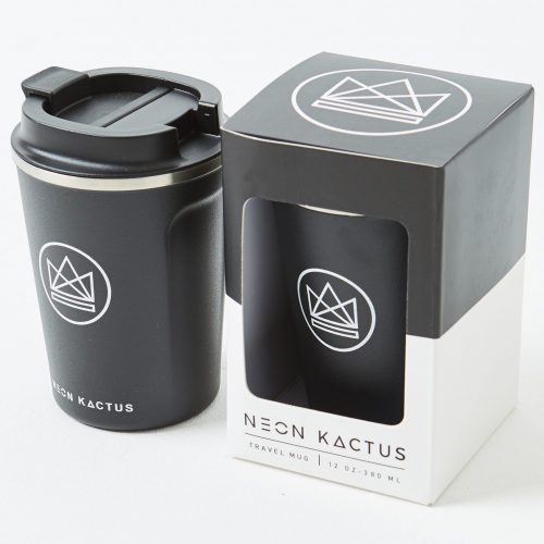 Neon Kactus -  Black Stainless Steel Coffee Cup