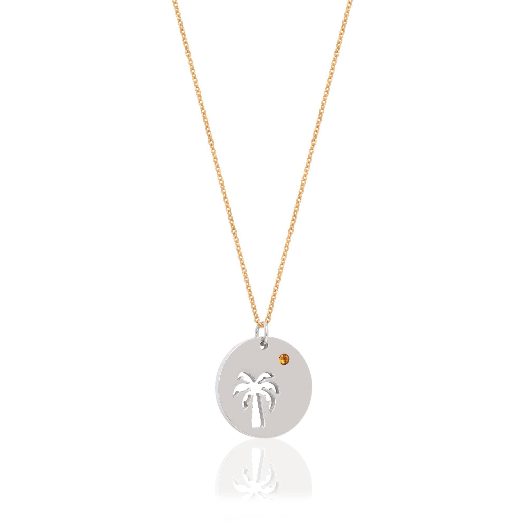 Esa Evans - Palm Tree Pendant Necklace  Yellow Stone