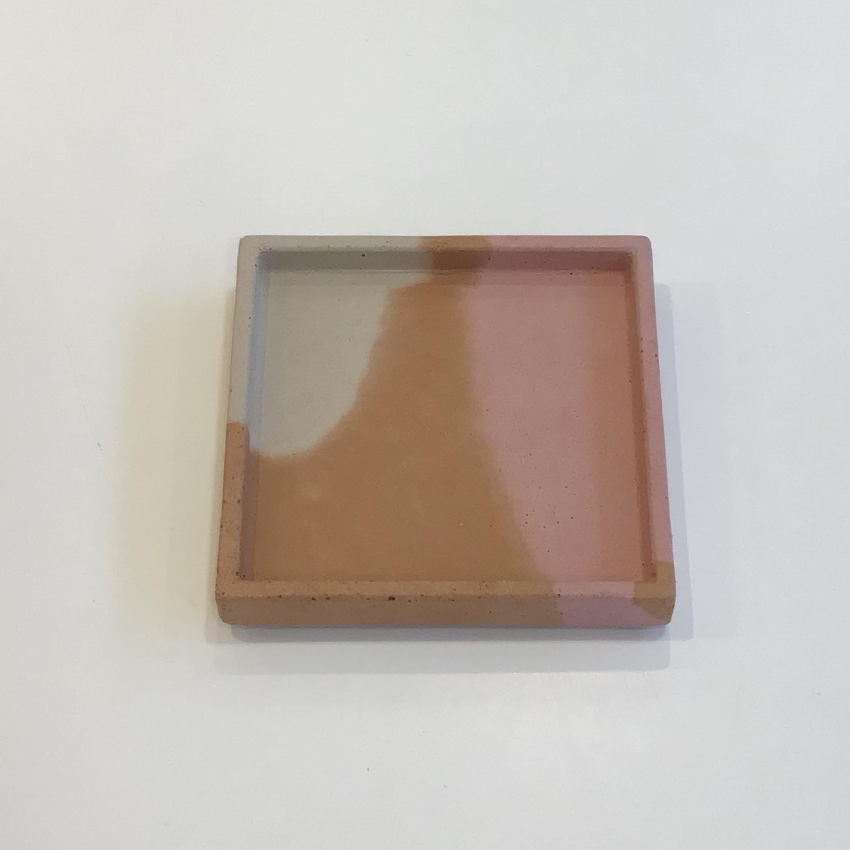 Concrete Square Tray - Terracotta, Pink, Cream