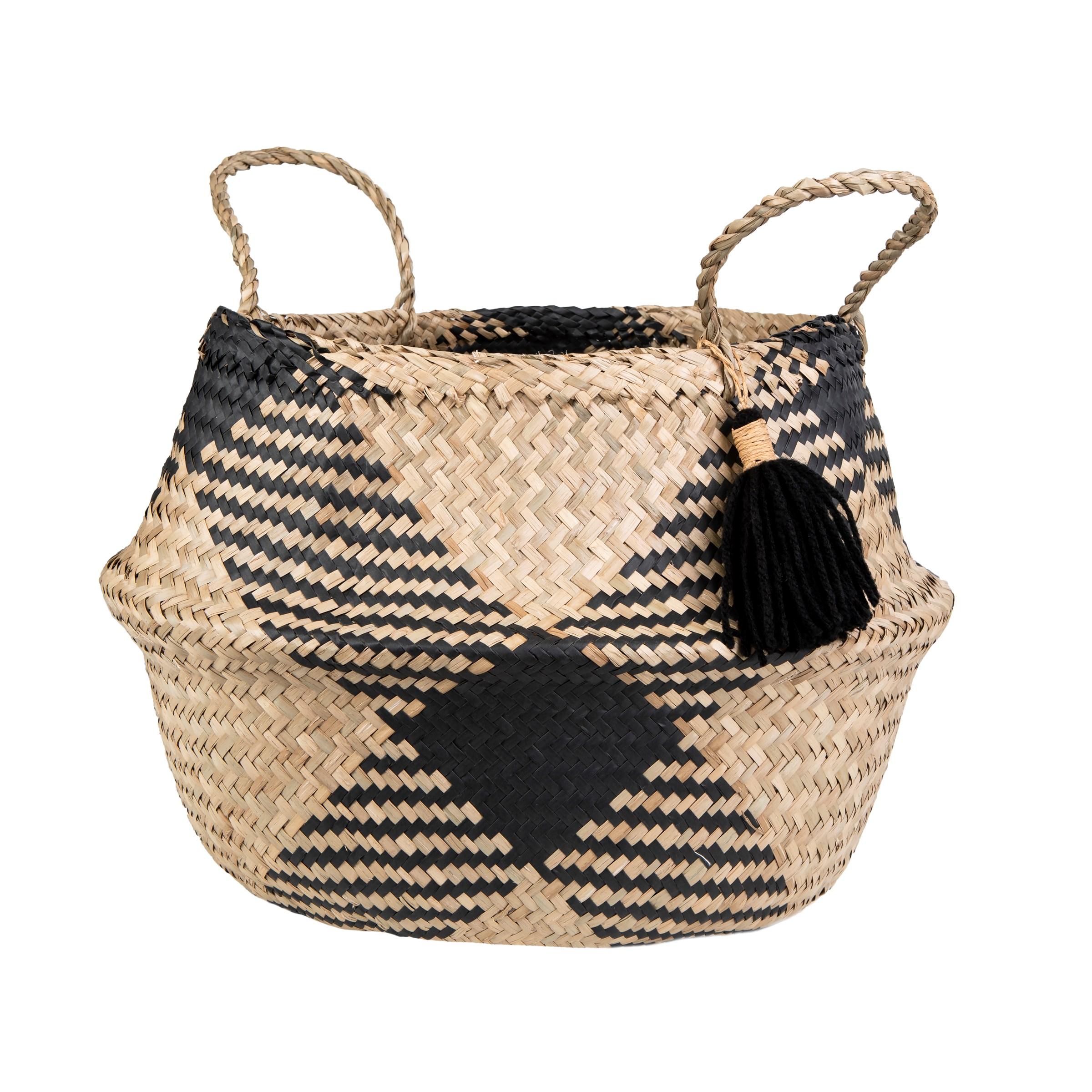Black Tribal Tassel Basket