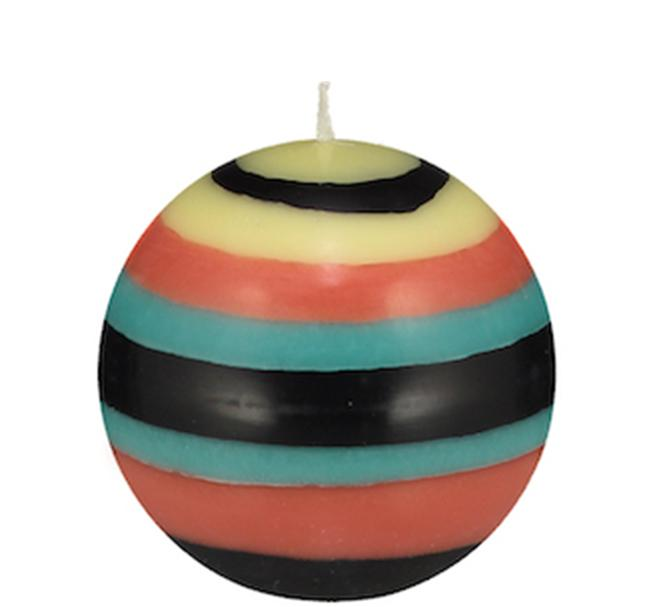 BCS British Colour Standard - Small Striped Ball Candle - Honey Bird Blue, Jet Black, Jasmine & Rust