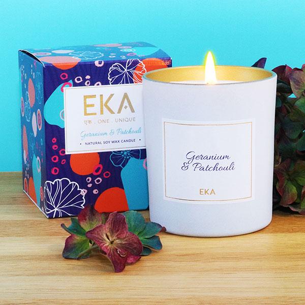 EKA - Geranium & Patchouli Soy Wax Candle