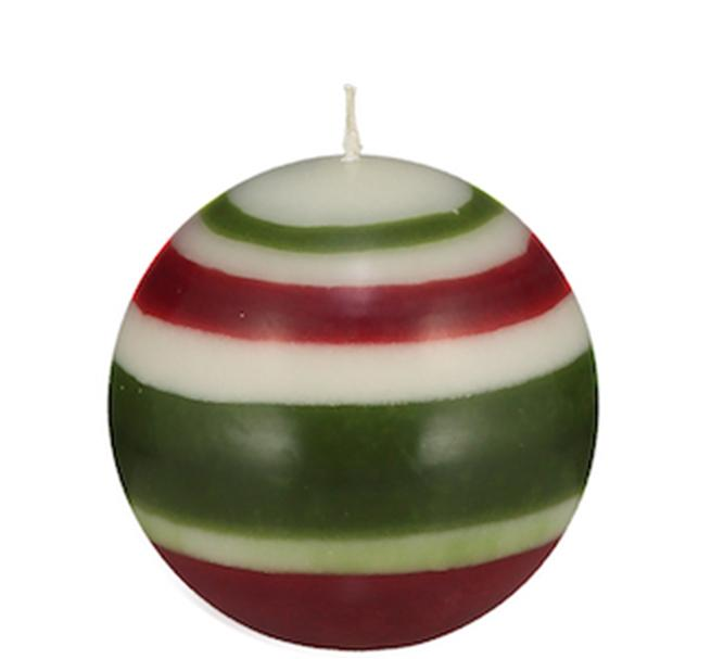 BCS British Colour Standard - Small Striped Ball Candle - Guardsman Red, Pearl White & Olive