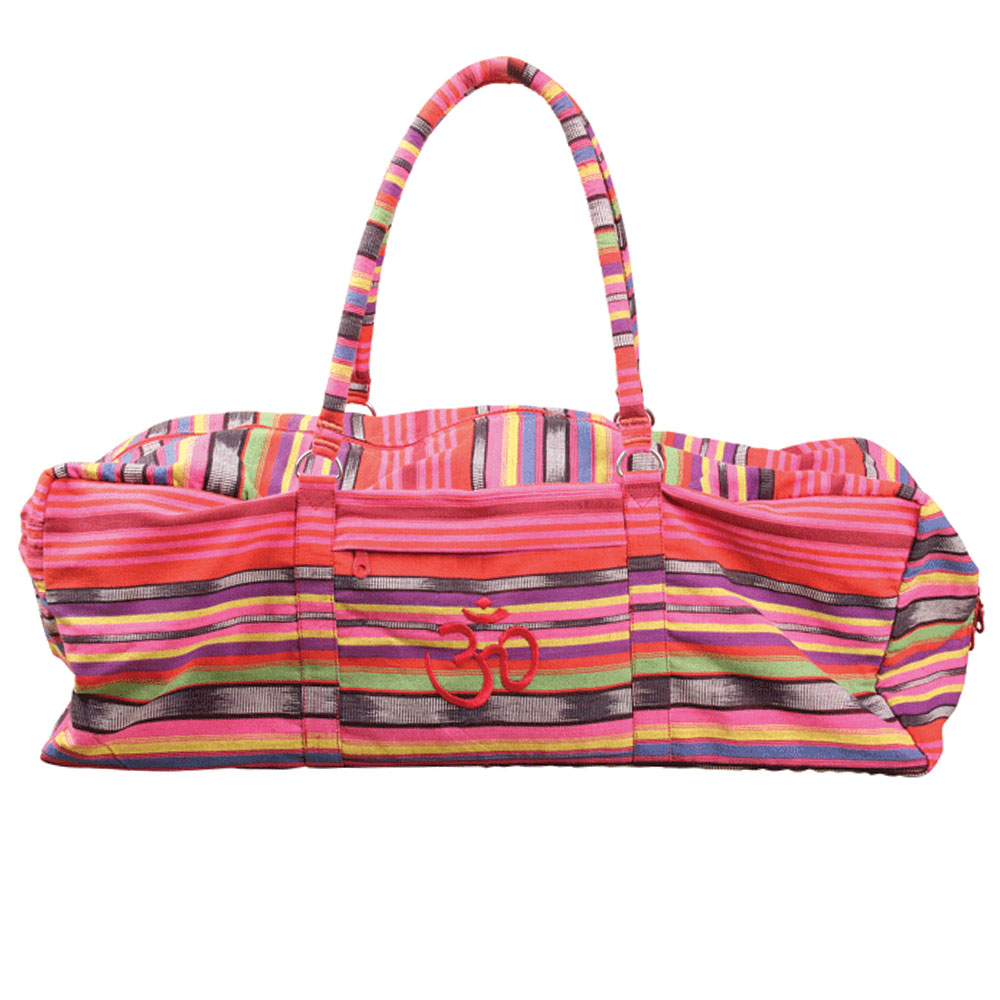 Deluxe Yoga & Pilates Kit Bag Pink Stripes