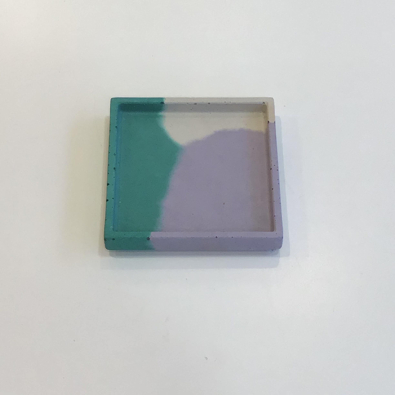 Concrete Square Tray -Lilac & Emerald