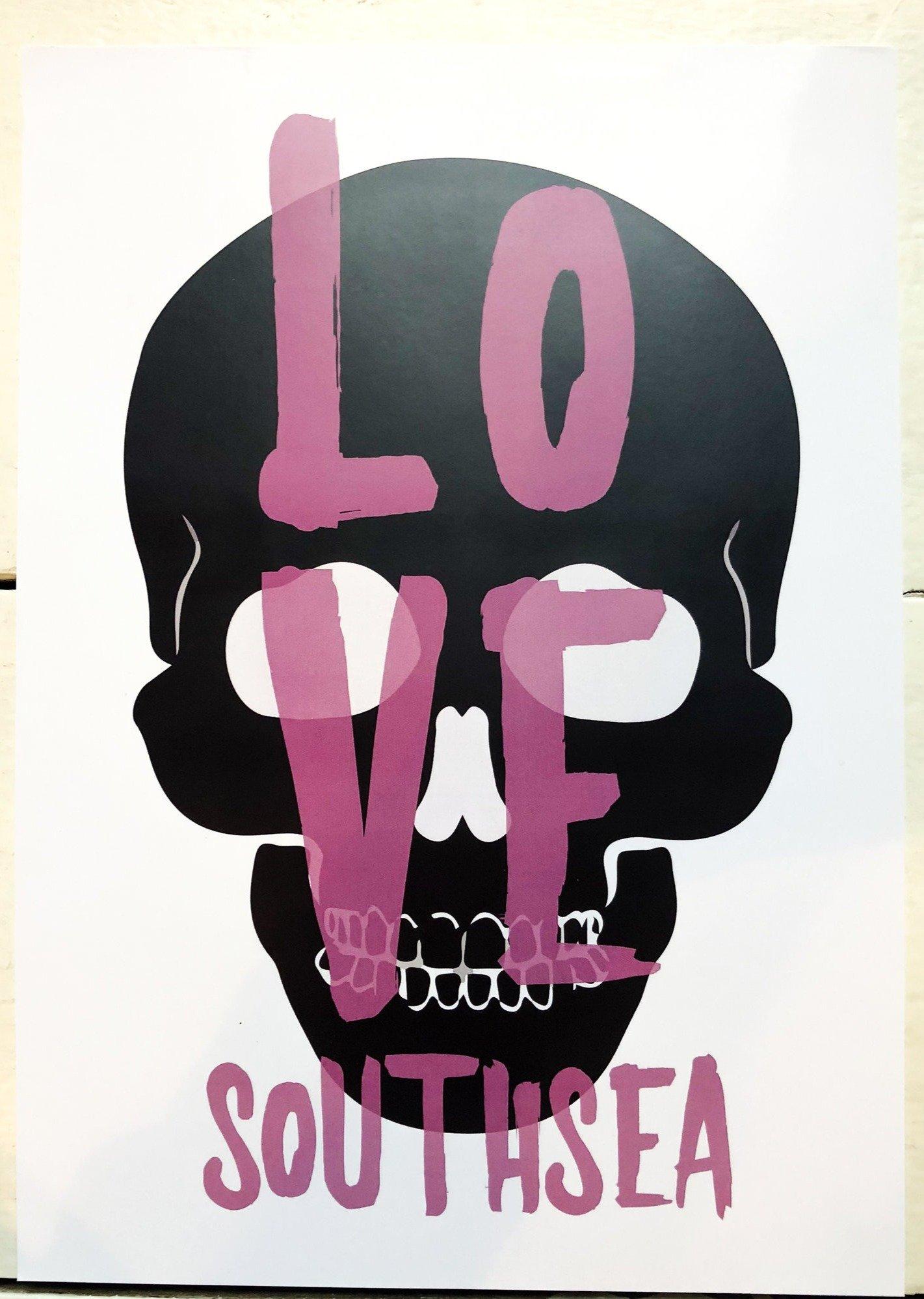 Love Southsea Skull Print A3