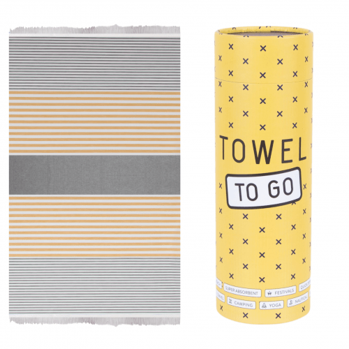Towel to Go - Hammam towel in Grey/Mustard