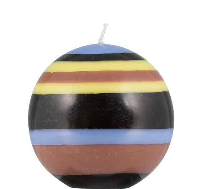 BCS British Colour Standard - Small Striped Ball Candle - Saxe Blue,  Jet Black,  Rose Beige & Primrose