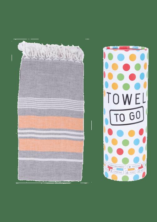 Towel to Go - Haman Towel in Anthracite / Orange