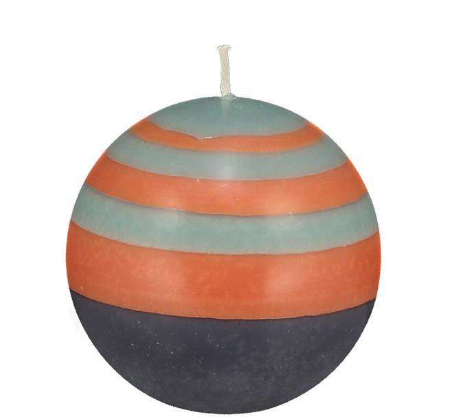 BCS British Colour Standard - Small Striped Ball Candle - Marigold, Gunmetal & Opaline