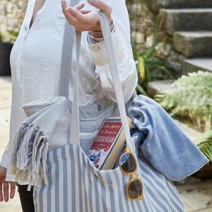 Weaver Green- Toulouse Blue Stripe Beach Bag