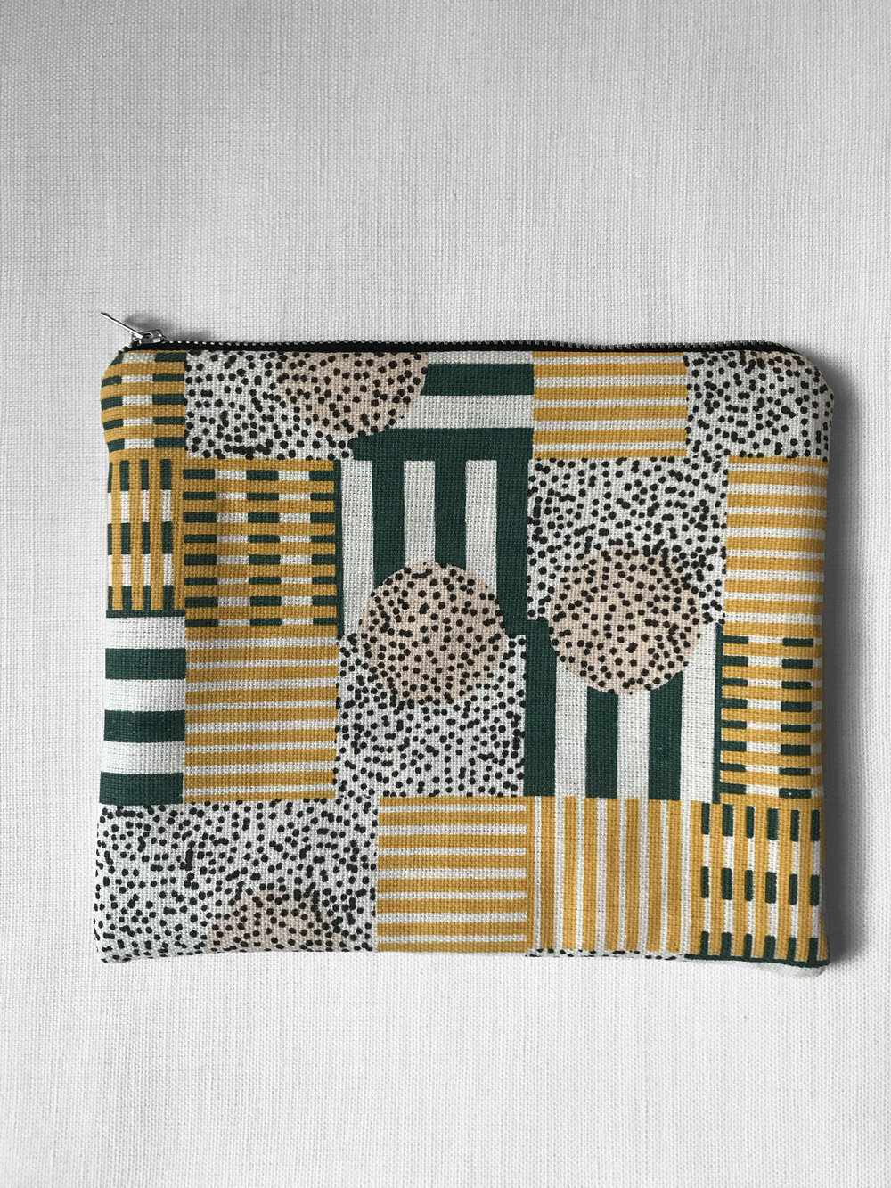 Millie Rothera Design - Flat Pouch / Make-up Bag - Yellow, Green, Pink