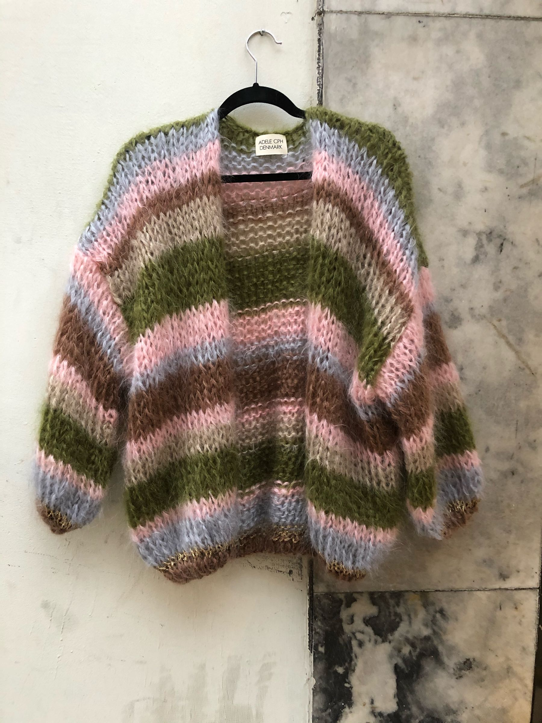 ADELE CPH Cardigan mohair olive, rose, light blue