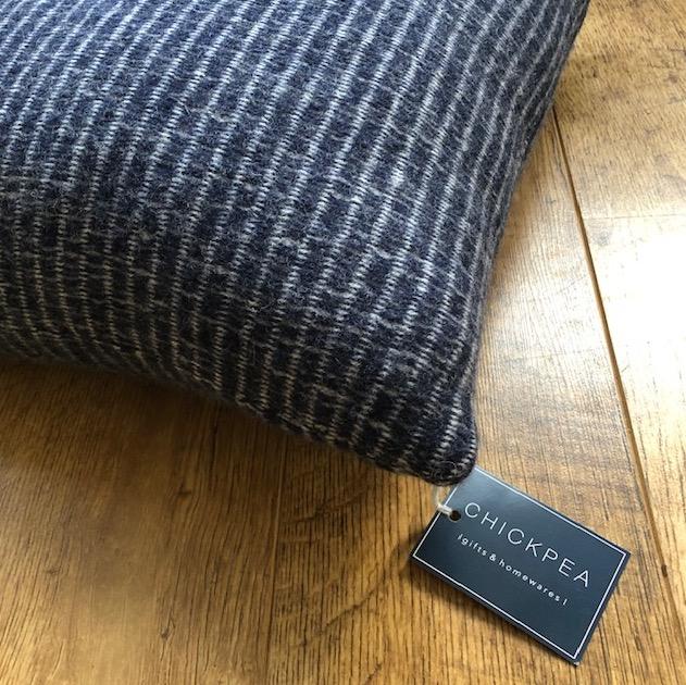 Minimal geometric lambswool knitted cushion by Harriett Grist