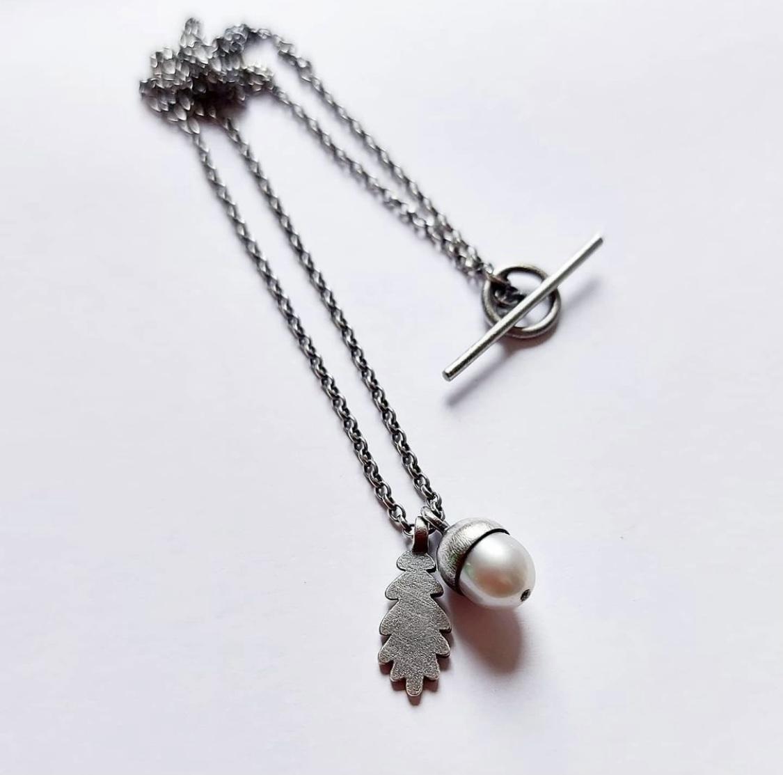 Acorn and oak leaf pendant necklace by Suzanne Potter of Potter Siskin Jewellery