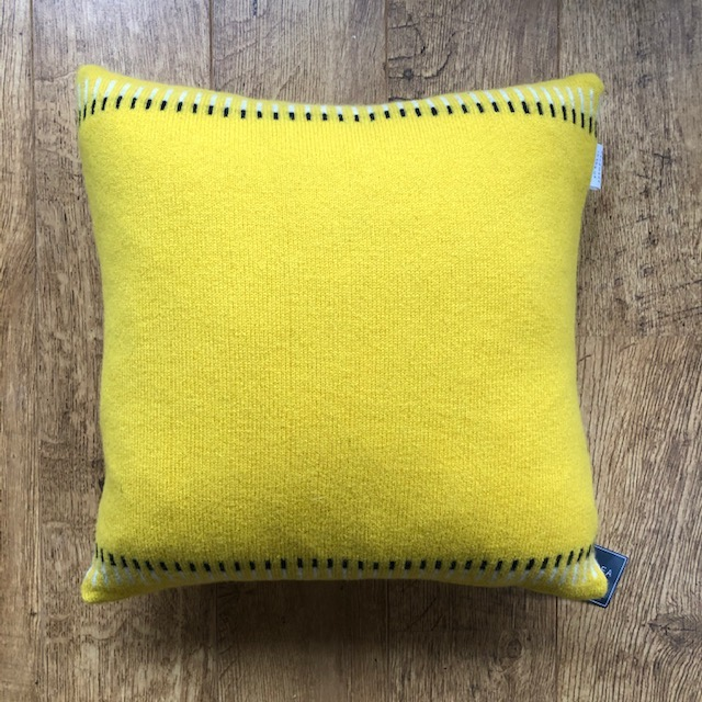 Yellow lambswool knitted cushion by Harriet Grist 'Chesil'