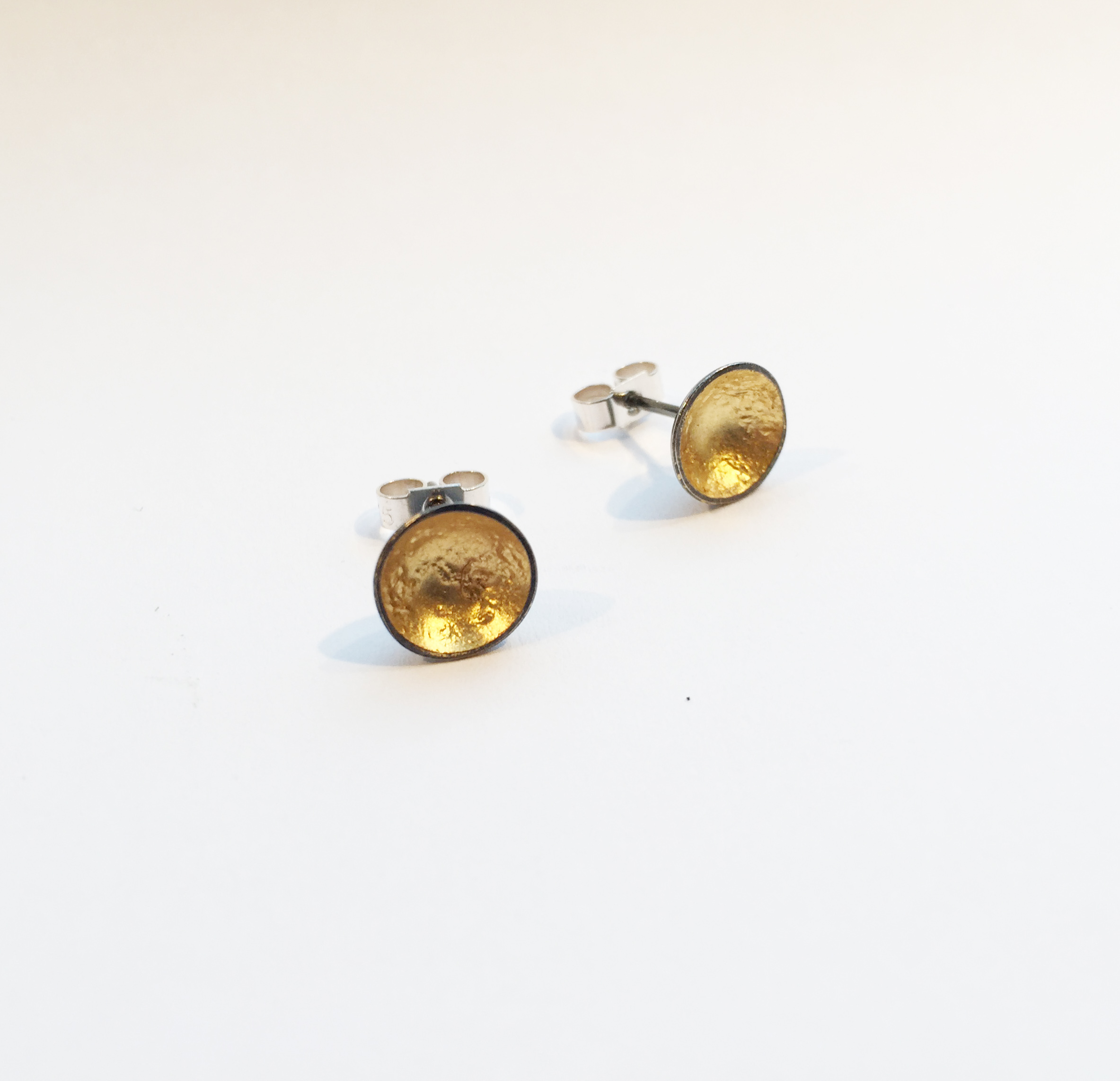 Oxidised silver and gold leaf earring studs by Karen Parker