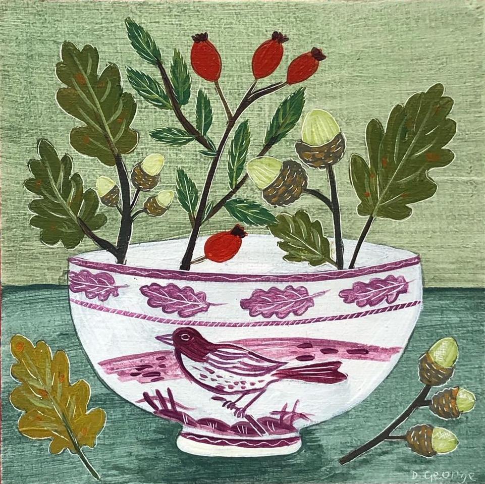 Lustre Bowl and Oak Leaves painting by Debbie George