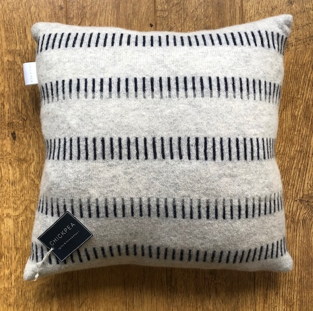 Knitted lambswool cushion by Harriett Grist 'Buttercross'