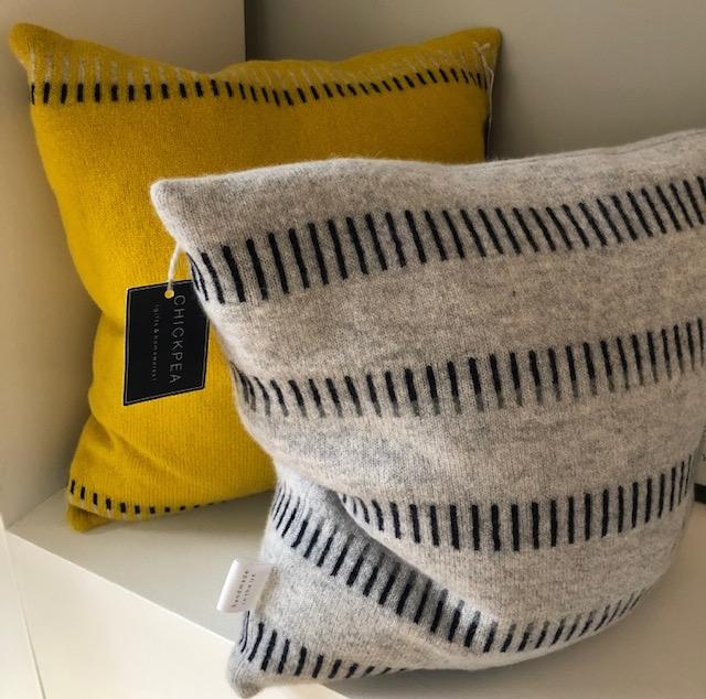 Minimal geometric lambswool knitted cushion by Harriett Grist 'Buttercross'