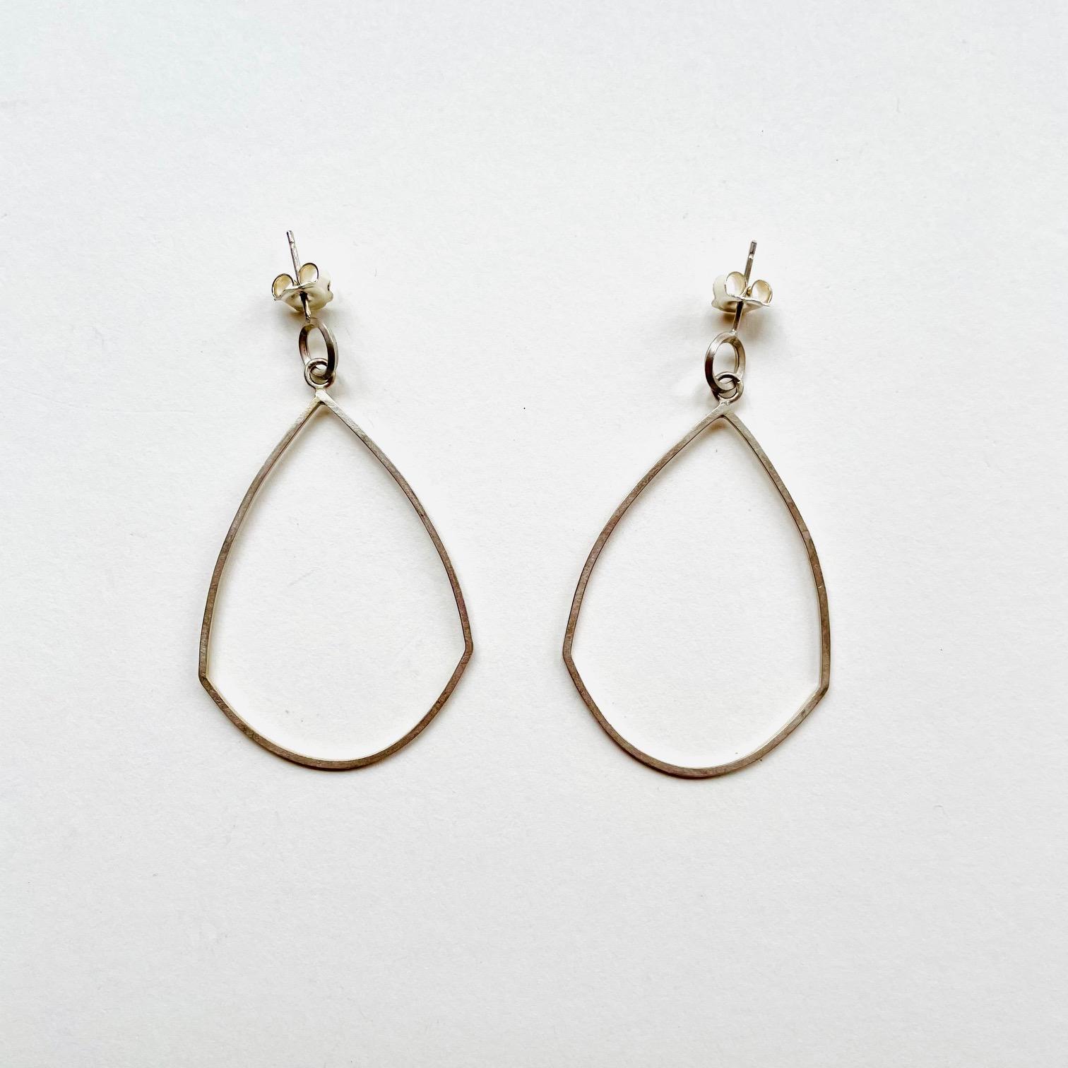 Silver Pear Drop Earrings by Pauline Edie
