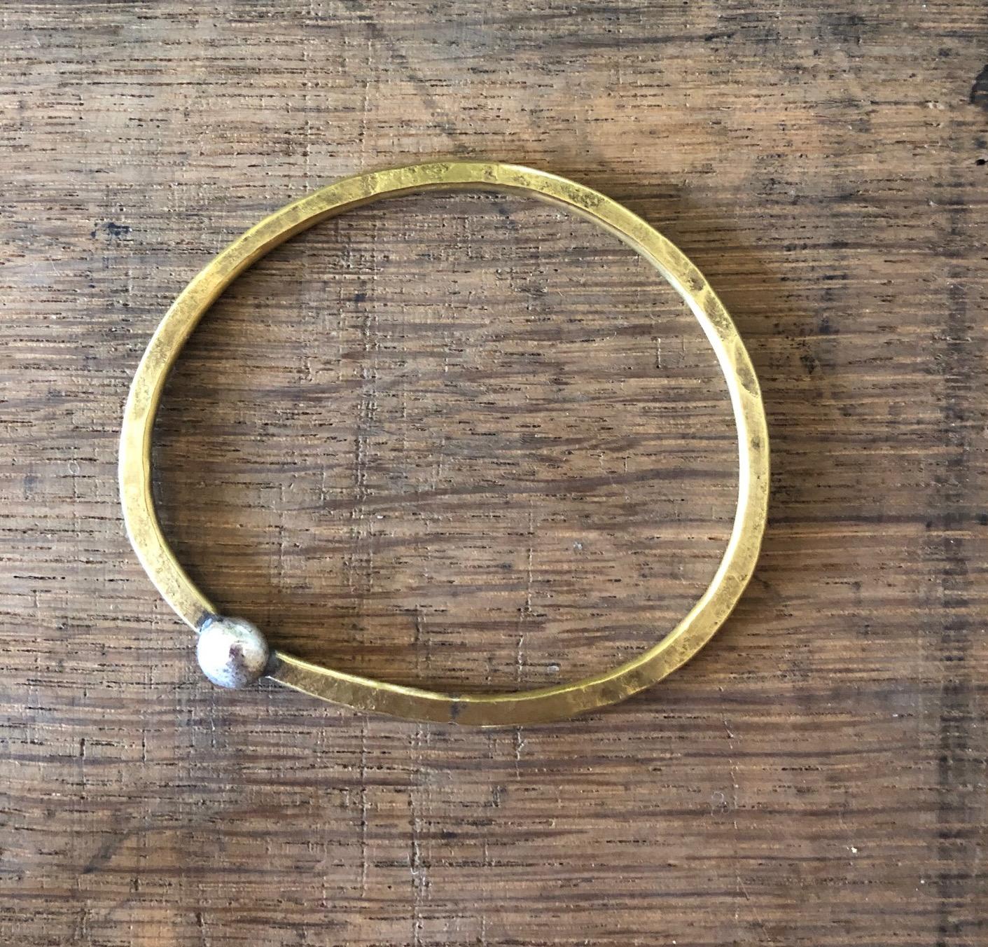Sarah Drew Brass Bracelet with Eco-silver 'Moon'