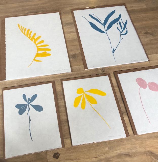 Kathy Hutton Buddleia Minimalist Botanical Lino Print unframed